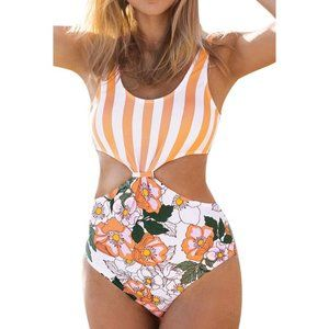 NEW CUPSHE One Piece Striped Floral Swimsuit S